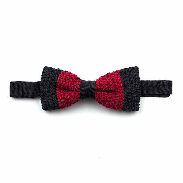Black/red bold Stripe Knitted Silk Bow Tie-0