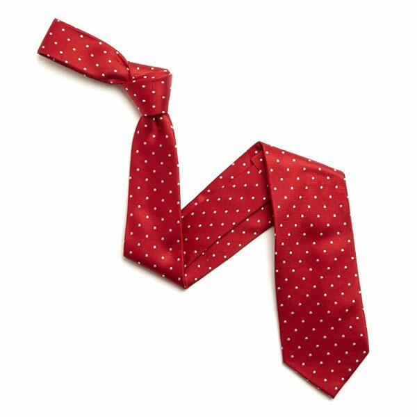 RED/WHITE SMALL DOTS SILK TIE-0