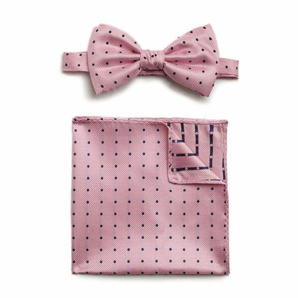 PINK/NAVY SPOTTED SILK BOW WITH MATCHING POCKET SQUARE-0
