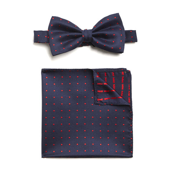 NAVY/RED SPOTTED SILK BOW WITH MATCHING POCKET SQUARE-0