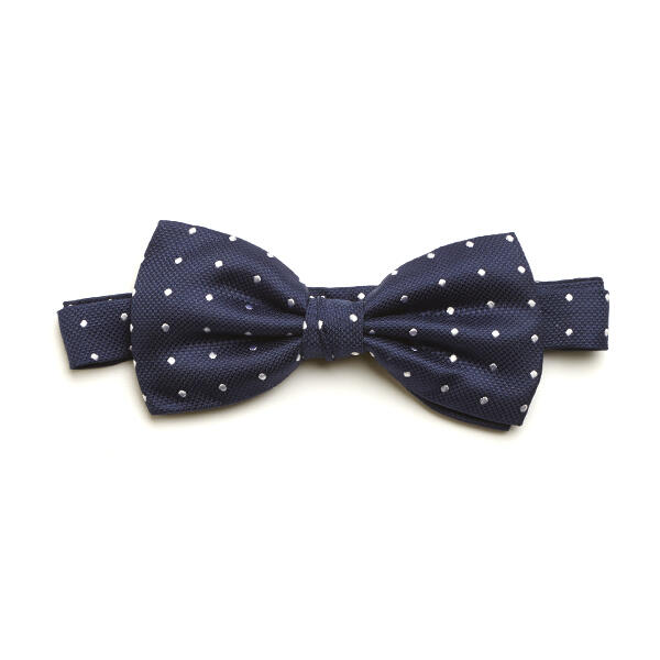 Navy/White Spotted Silk Bow Tie-0