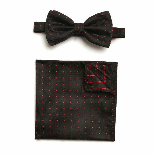 BLACK/RED SPOTTED SILK BOW WITH MATCHING POCKET SQUARE-0