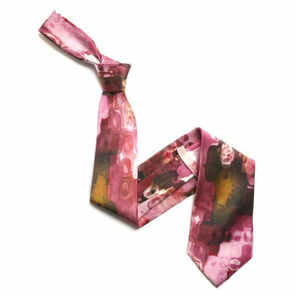Pink/Yellow Abstract Sorrento Silk Tie-0