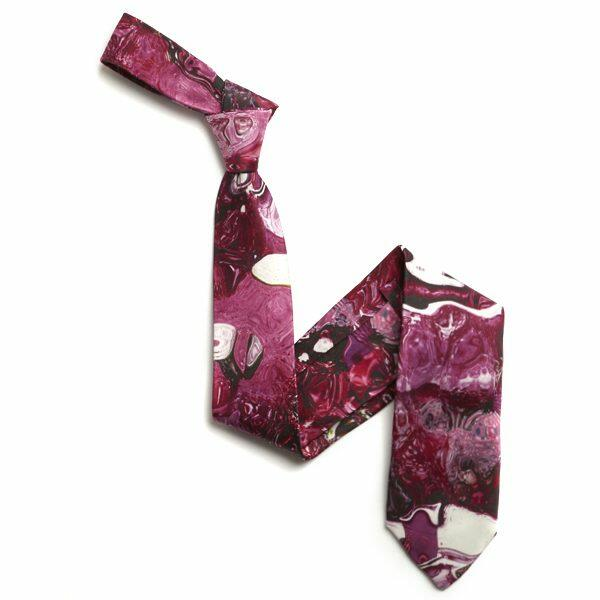 Pink/purple/white Abstract Sorrento Silk Tie-0