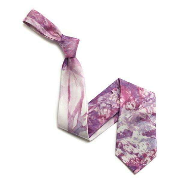Pink/White Abstract Sorrento Silk Tie-0