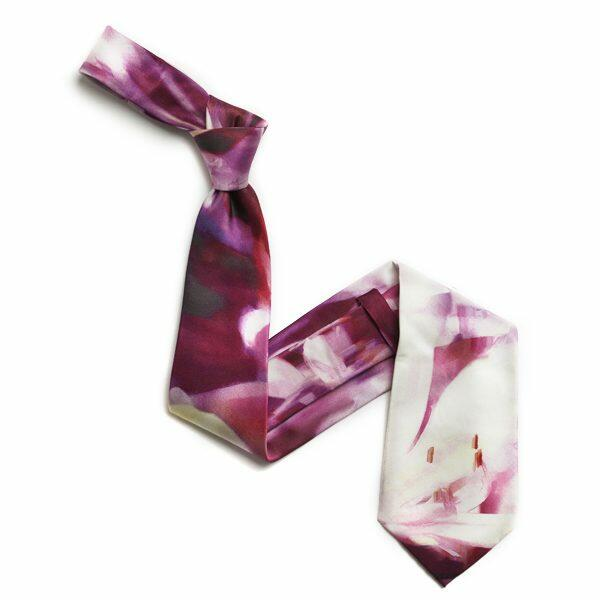 Wine red/White Abstract Sorrento Silk Tie-0