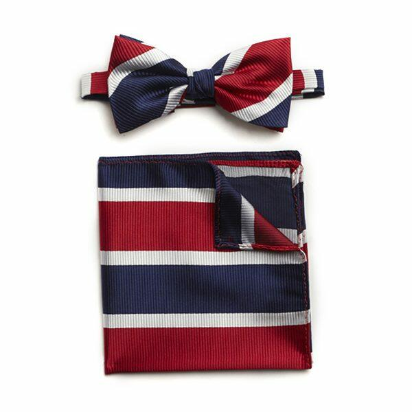 RED/WHITE/NAVY STRIPED SILK BOW WITH MATCHING POCKET SQUARE-0