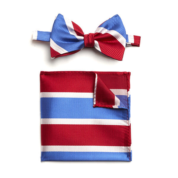RED/WHITE/BLUE STRIPED SILK BOW WITH MATCHING POCKET SQUARE
