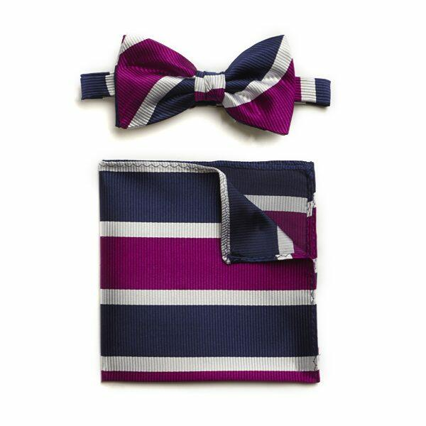 NAVY PURPLE WHITE BOLD STRIPE SILK BOW WITH MATCHING POCKET SQUARE-0