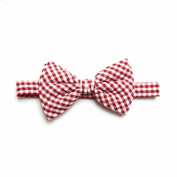 RED/WHITE GINGHAM BOW TIE-0