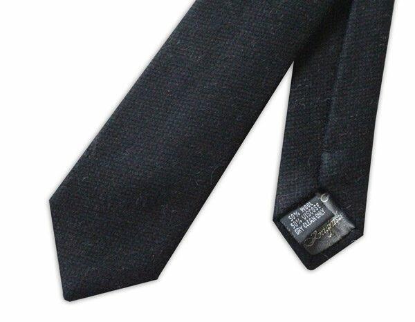 BLACK harris tweed SKINNY WOOL TIE-0