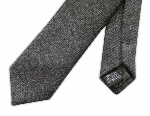 DARK GREY SKINNY tweed WOOL TIE-0
