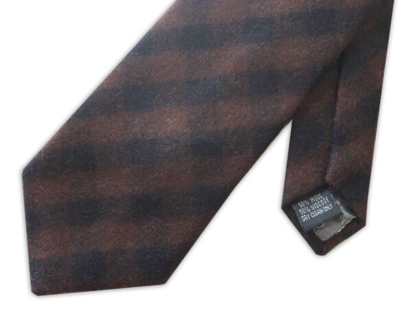 BROWN/BLACK bold TARTAN WOOL TIE-0
