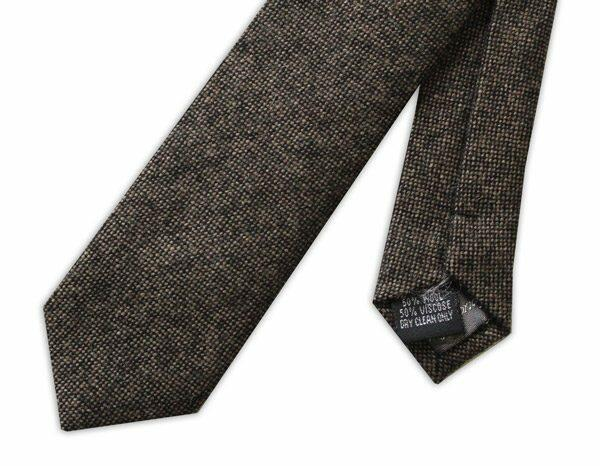BROWN SKINNY WOOL TIE-0
