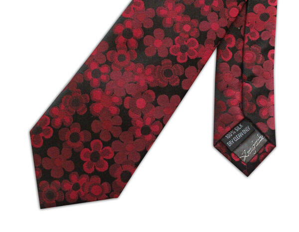 RED/BLACK 70'S FLORAL WOVEN SILK TIE-0