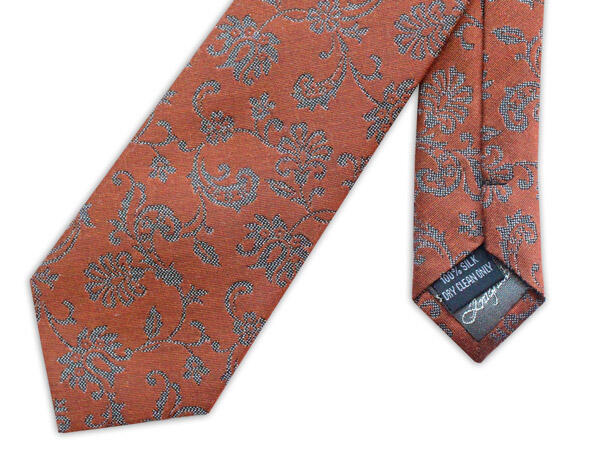 BURNT ORANGE AND GREY FLORAL WOVEN SILK TIE-0