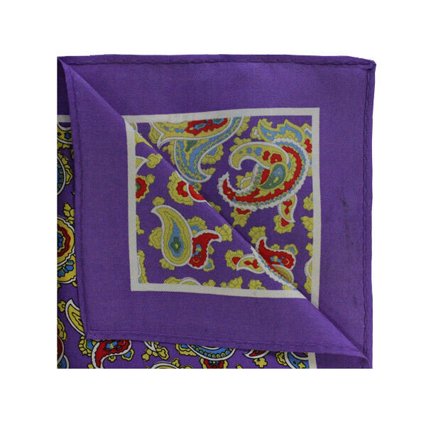 Purple/yellow/red paisley square -0