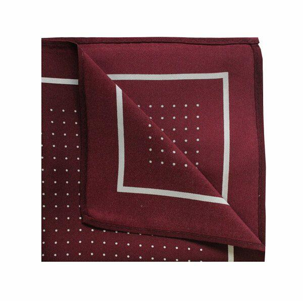 Pin dot square in wine red/white-0