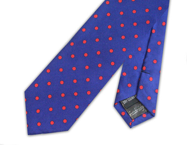 RETRO ROYAL BLUE WITH RED POLKA DOTS SILK PRINTED SKINNY TIE