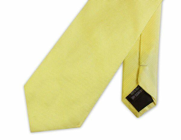 PALE YELLOW WOVEN SILK TIE-0