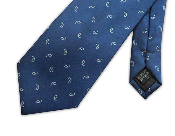 Royal blue/white micro pattern clip-on tie-0