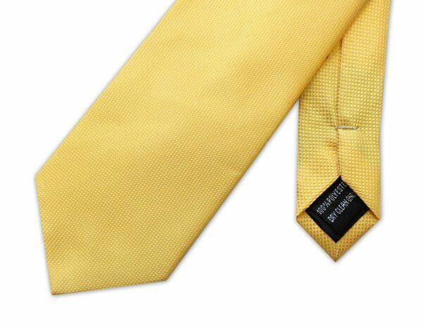 PLAIN YELLOW MICRO GRID TIE-0