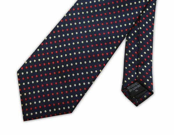 Navy/red/yellow spots clip-on tie -0