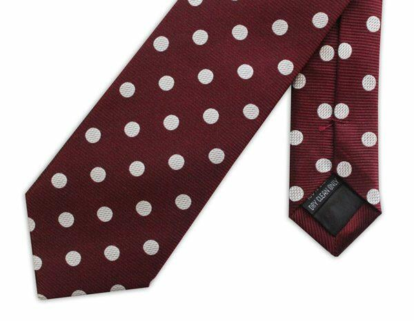 BURGUNDY/WHITE POLKA DOT WOVEN SILK TIE-0