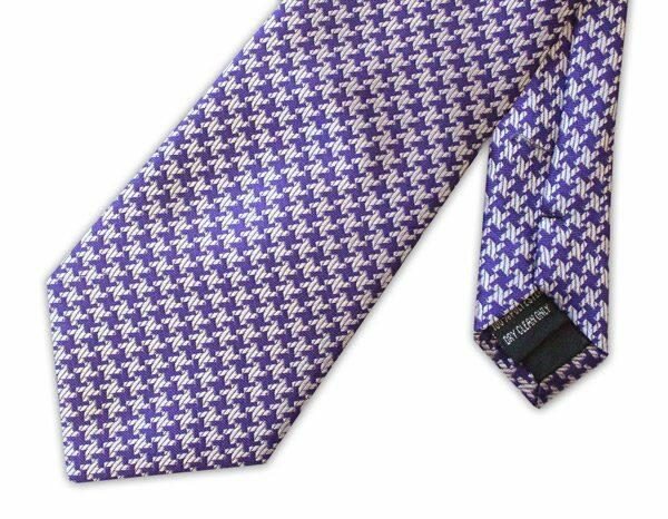Purple large houndstooth clip-on tie -0