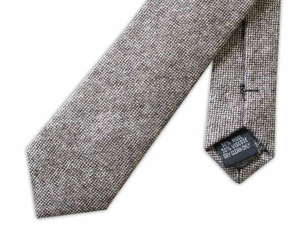 LIGHT BROWN SKINNY WOOL TIE-0