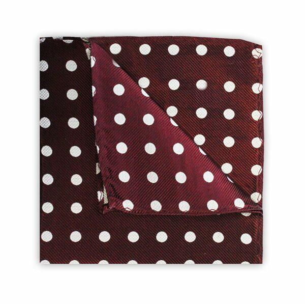 BURGUNDY/WHITE POLKA DOT SQUARE-0