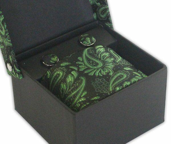 BLACK/GREEN FLORAL TIE & CUFFLINK SET-0
