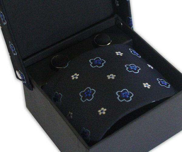 NAVY/BLUE FLOWER TIE & CUFFLINK SET-0