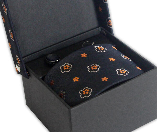 NAVY/ORANGE FLOWER TIE & CUFFLINK SET-0
