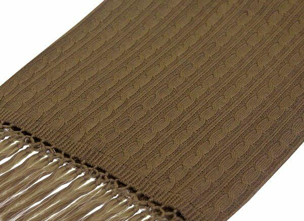 BEIGE KNITTED WOOL SCARF-0