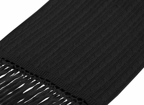 Black knitted wool scarf-0