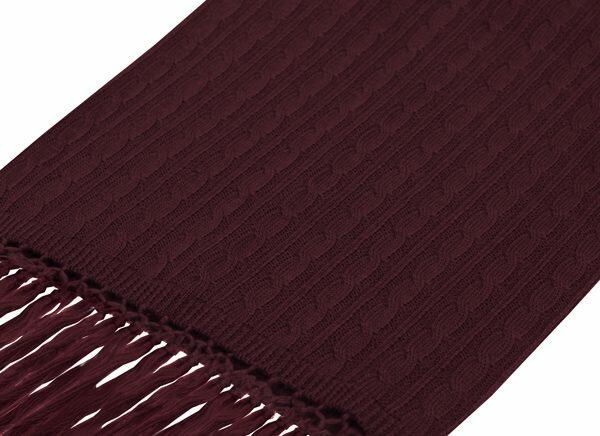BURGUNDY KNITTED WOOL SCARF-0