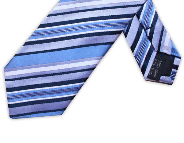 NAVY/BLUE DIAGONAL STRIPE TIE
