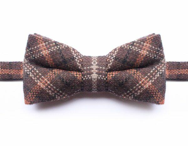 BROWN/ORANGE/BLACK CHECK BOW TIE-0
