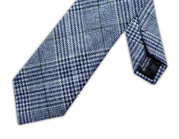 NAVY/GREEN PRINCE OF WALES CHECK TIE-0