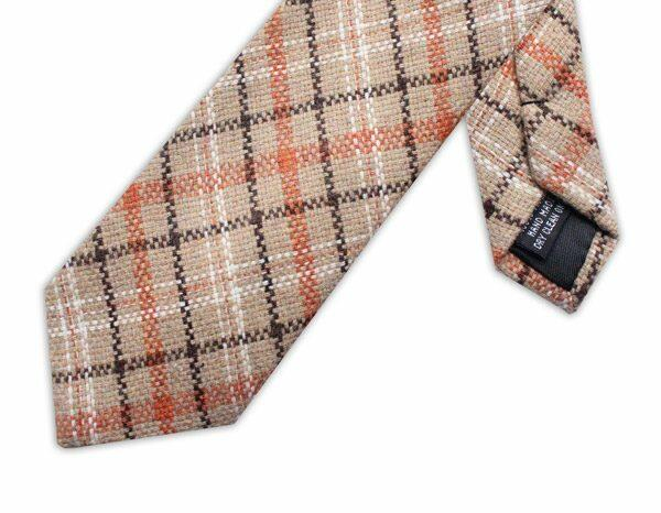 BROWN/ORANGE/BEIGE CHECK TIE-0