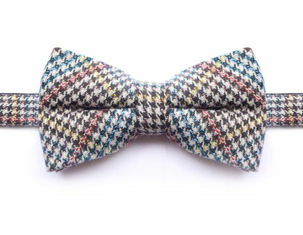 BLUE/ORANGE/YELLOW PRINCE OF WALES CHECK BOW TIE-0