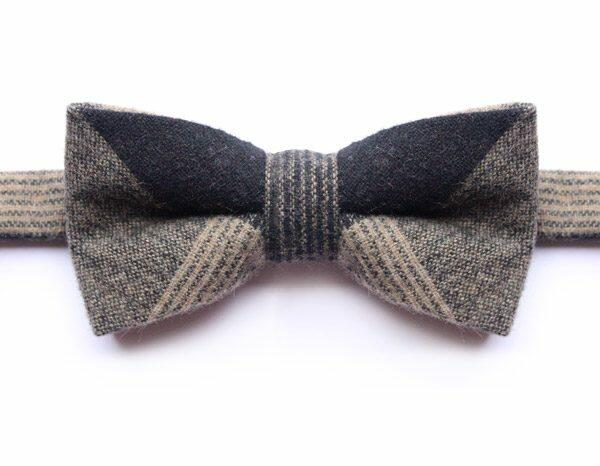 LARGE BLACK/BROWN/BEIGE CHECK BOW TIE-0