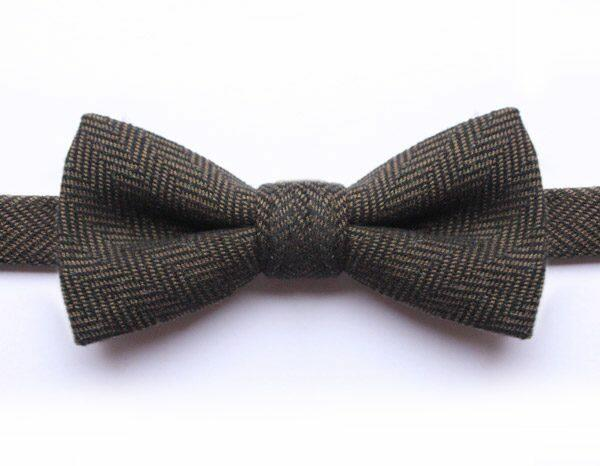 GREEN HERRINGBONE BOW TIE-0