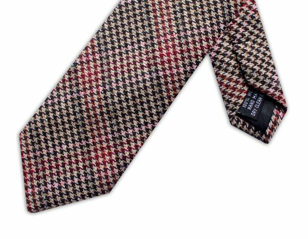 BROWN/PINK/RED PRINCE OF WALES CHECK TIE-0