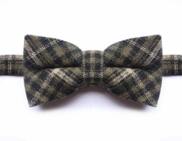 GREEN/CREAM CHECK BOW TIE-0