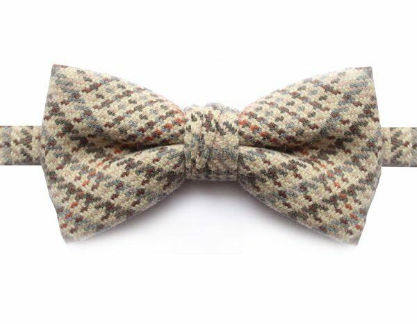 CREAM/GREY/ORANGE CHECK BOW TIE-0
