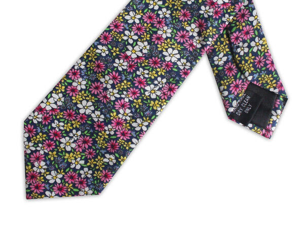 PINK/YELLOW/GREEN FLORAL COTTON TIE-0