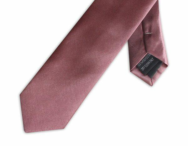 SLIM SOFT BURGUNDY POLY SATIN TIE-0