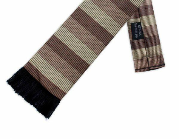 BEIGE & BROWN STRIPE RETRO TIE-0